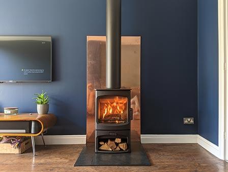 Freestanding stove installation in Essex