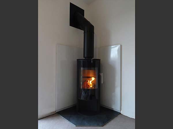 Vlaze used in corner fireplace