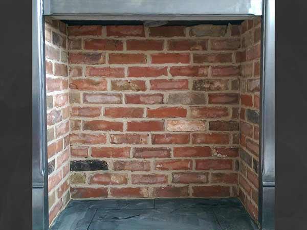 red brick slip fireplace chamber