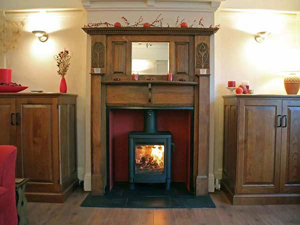 Traditional oak fireplace mantel installation
