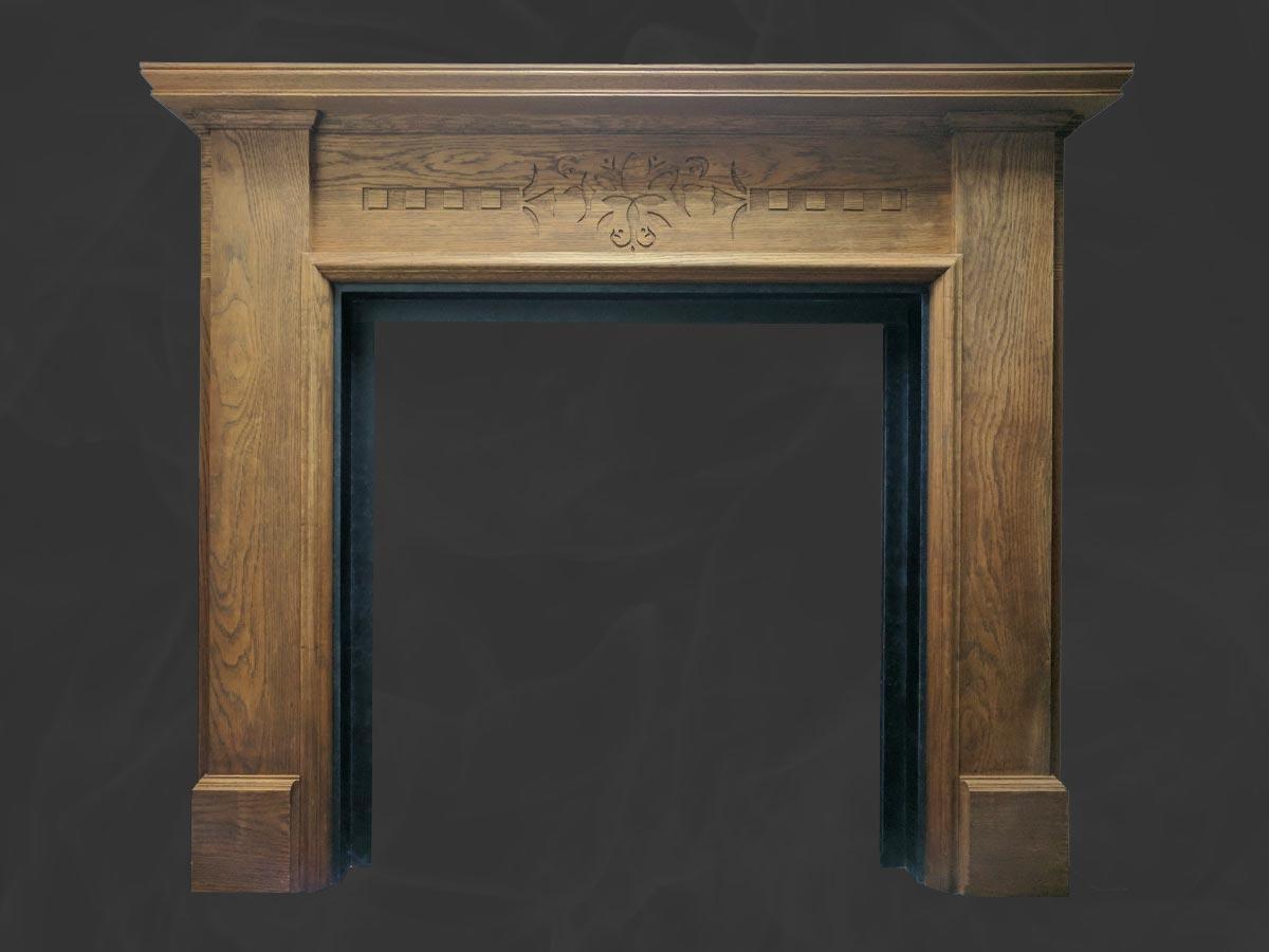 Oak wooden mantel with slate slips