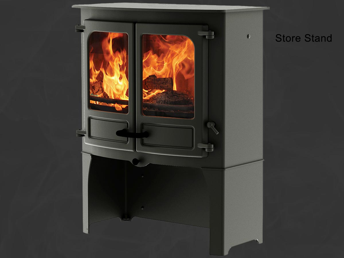 Charnwood island 3 stove with log store stand