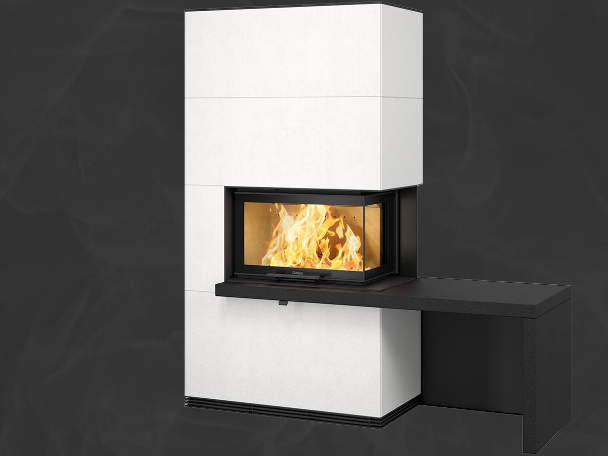 Contura i41A fireplace Artstone with log storage