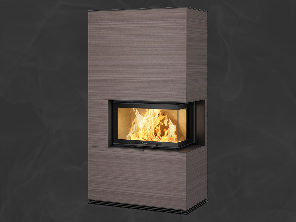 Contura i41S fireplace with sandstone