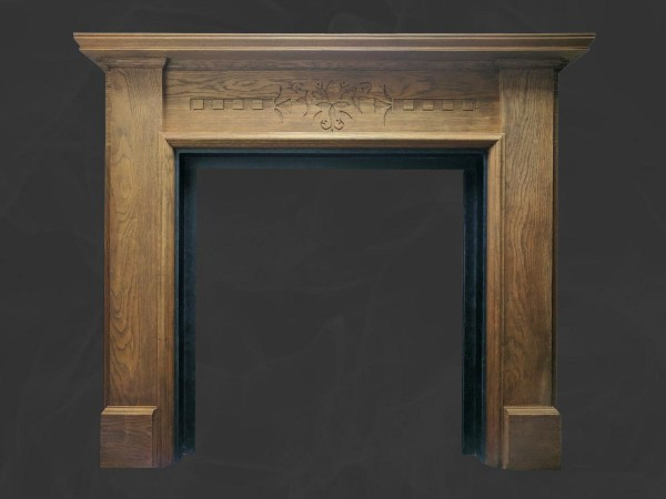Oak wooden mantel with slate slips