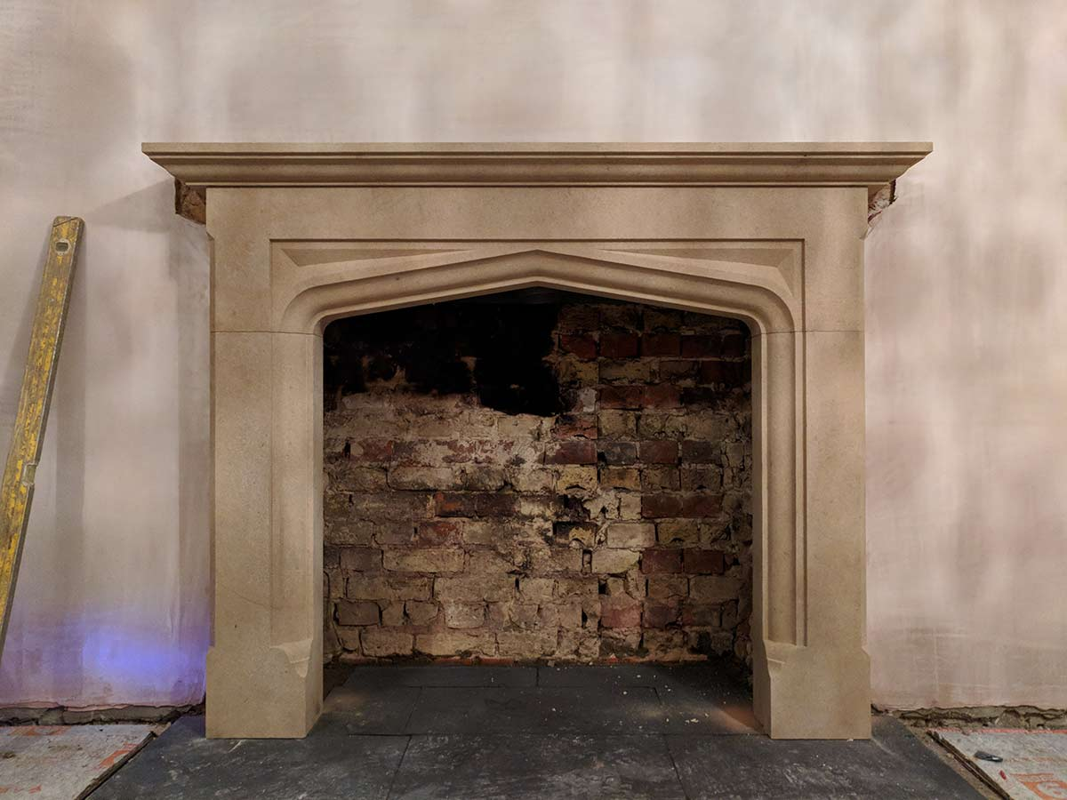 stone mantel installation