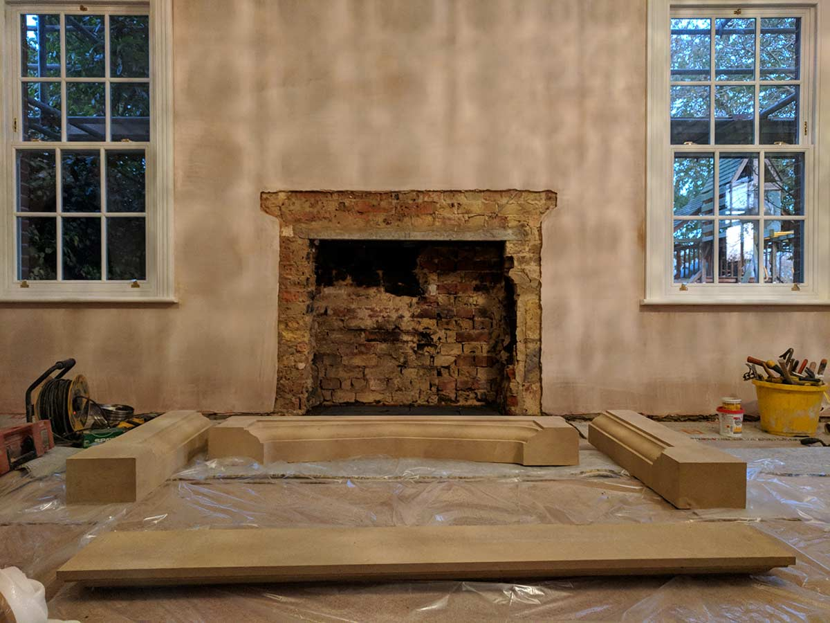 bathstone mantel installation