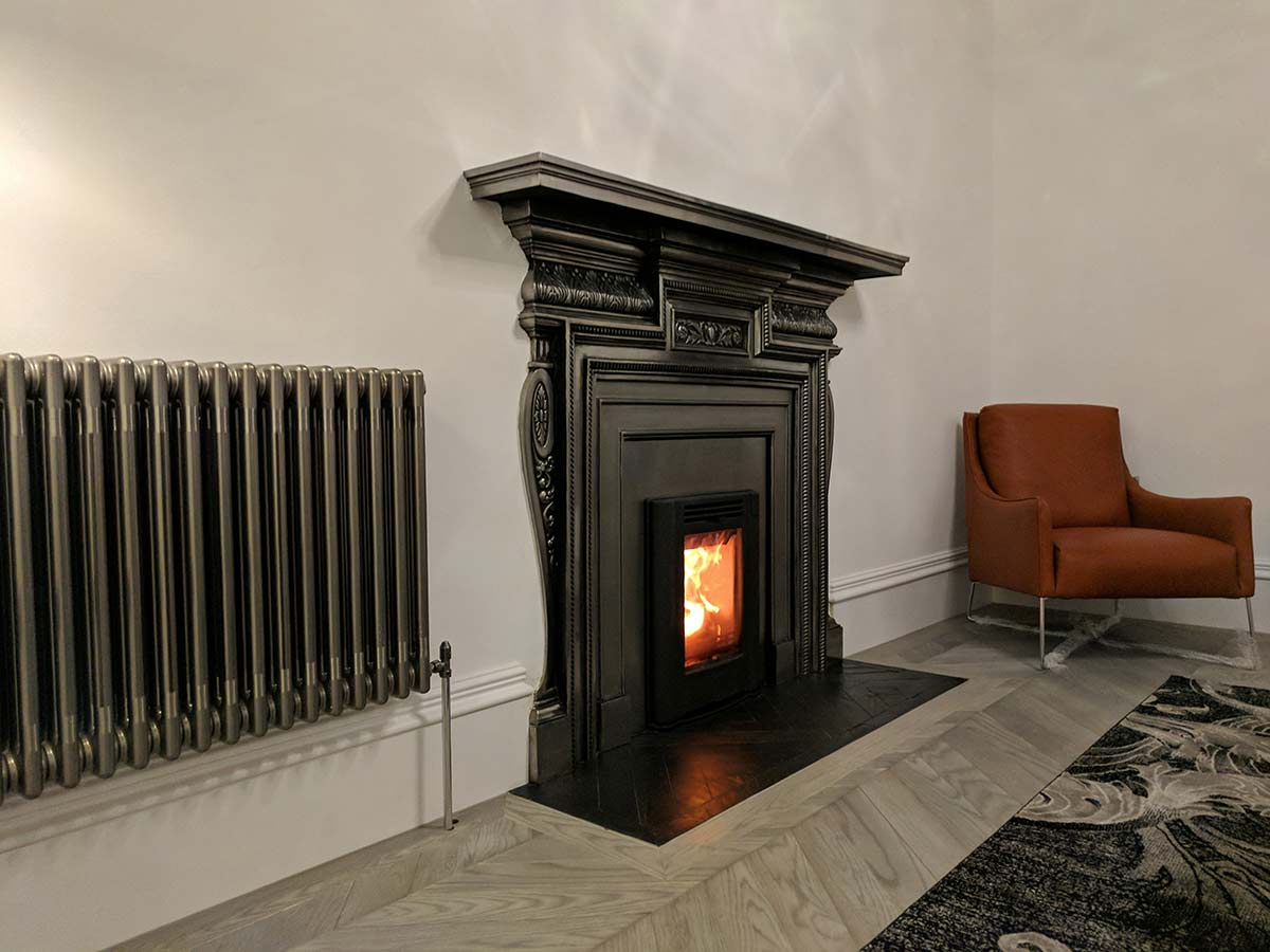 Fireplace with herringbone slate hearth