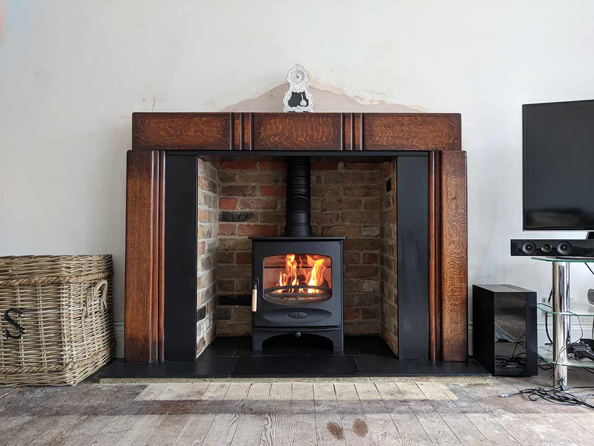 Art Deco antique fireplace with stove
