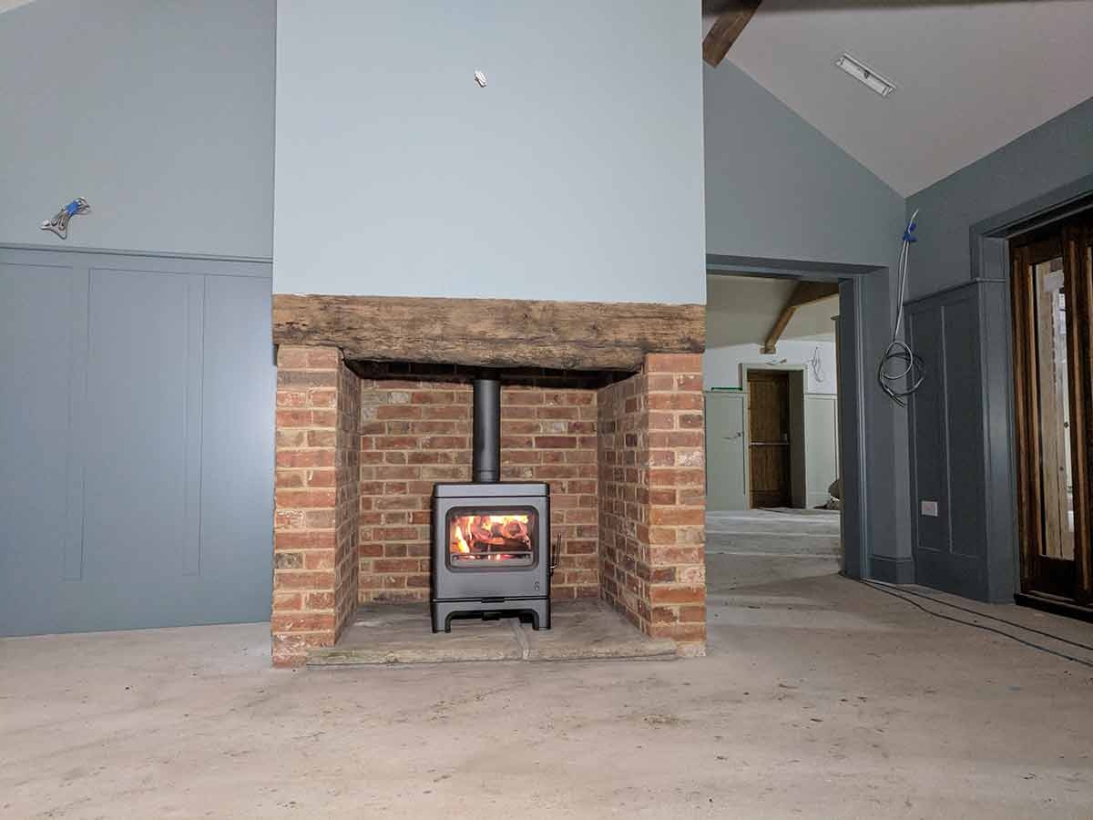 red brick fireplace at wedding venue