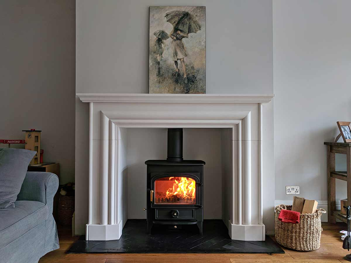 Stone mantel with vision 500 stove