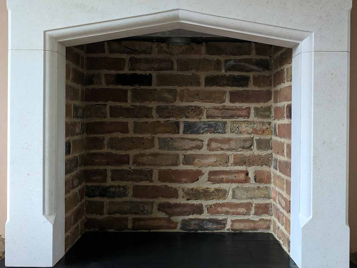 reclaimed brick slip fireplace chamber