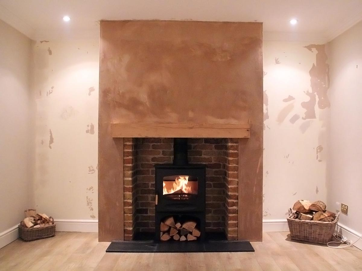New build chimney breast fireplace