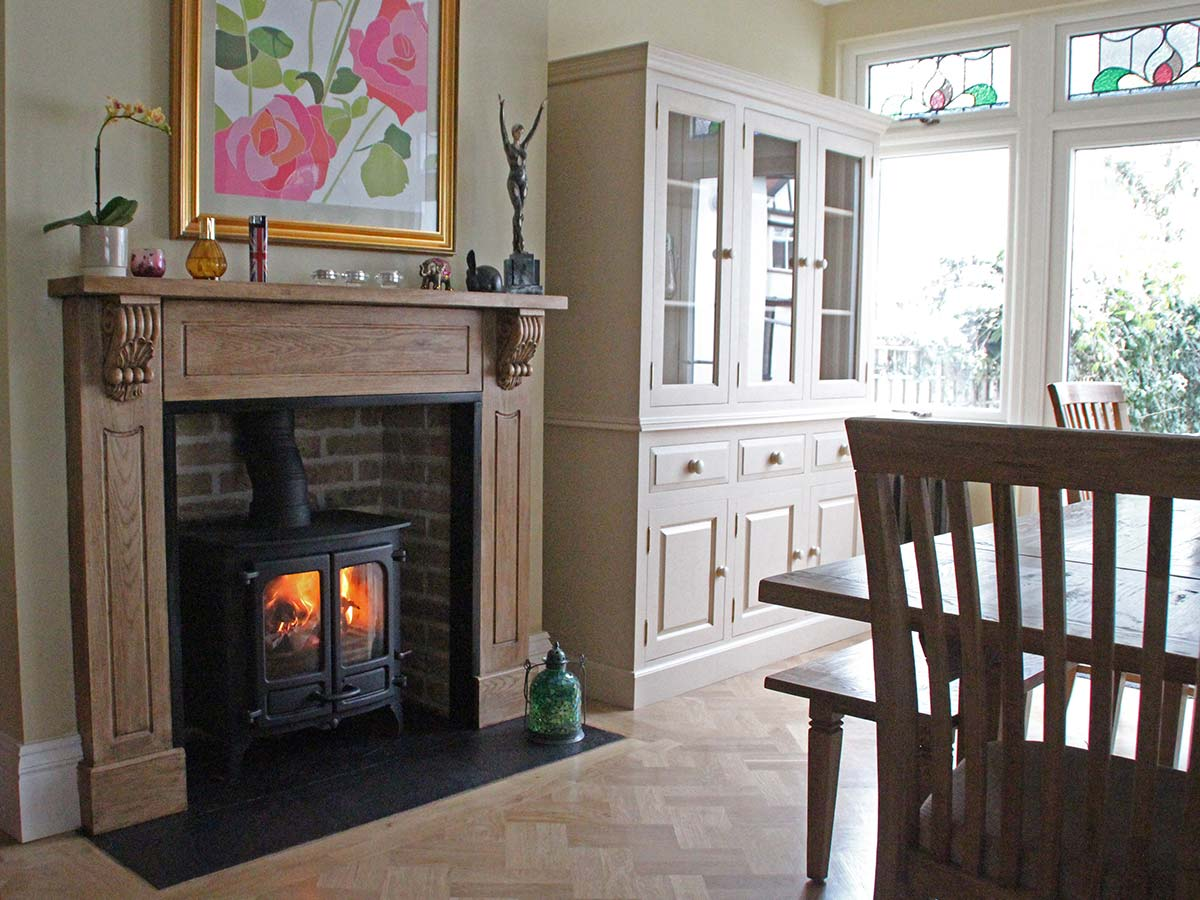 Oak fireplace mantel with Charnwood island 2