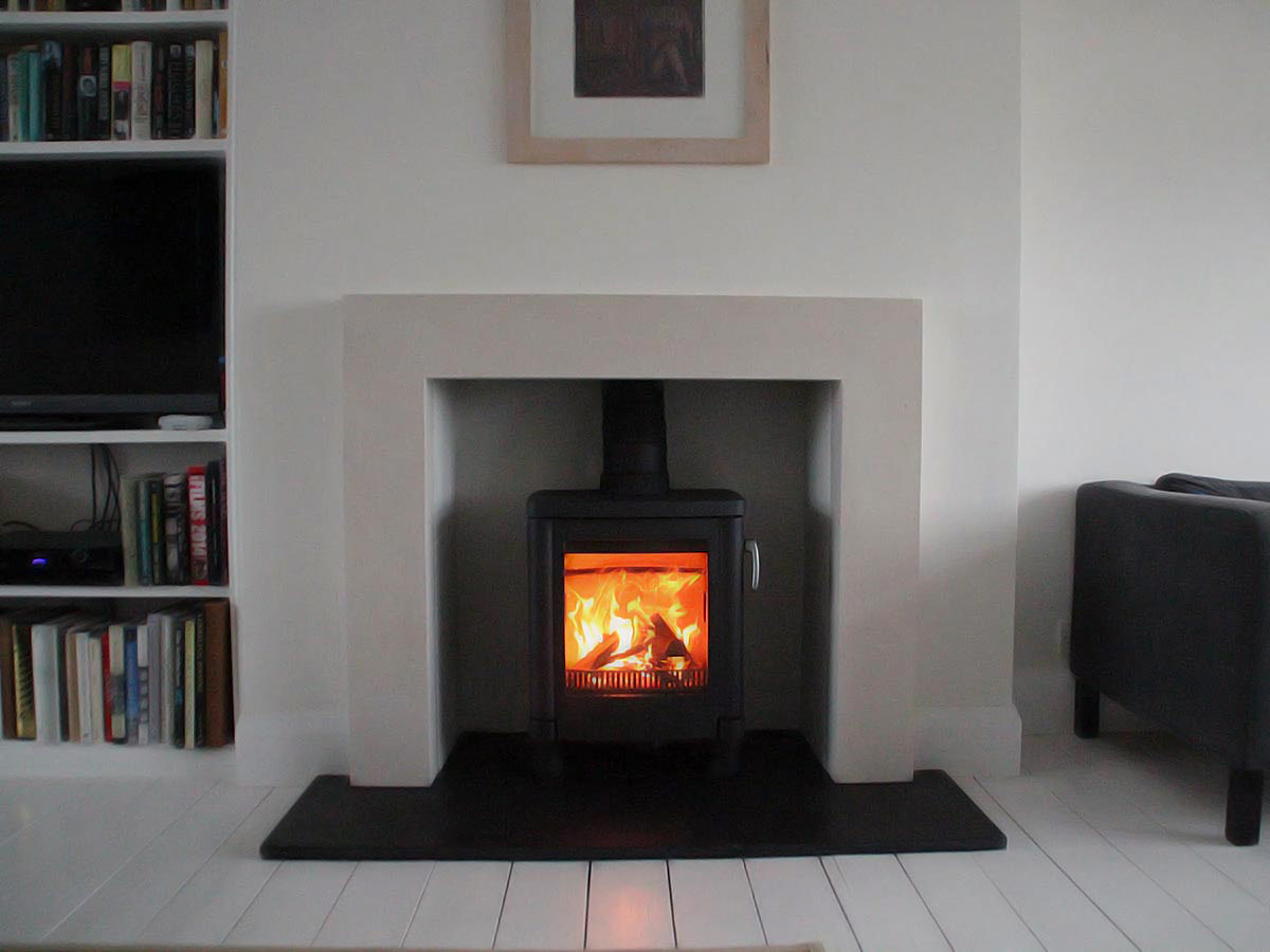 bespoke lime stone fireplace