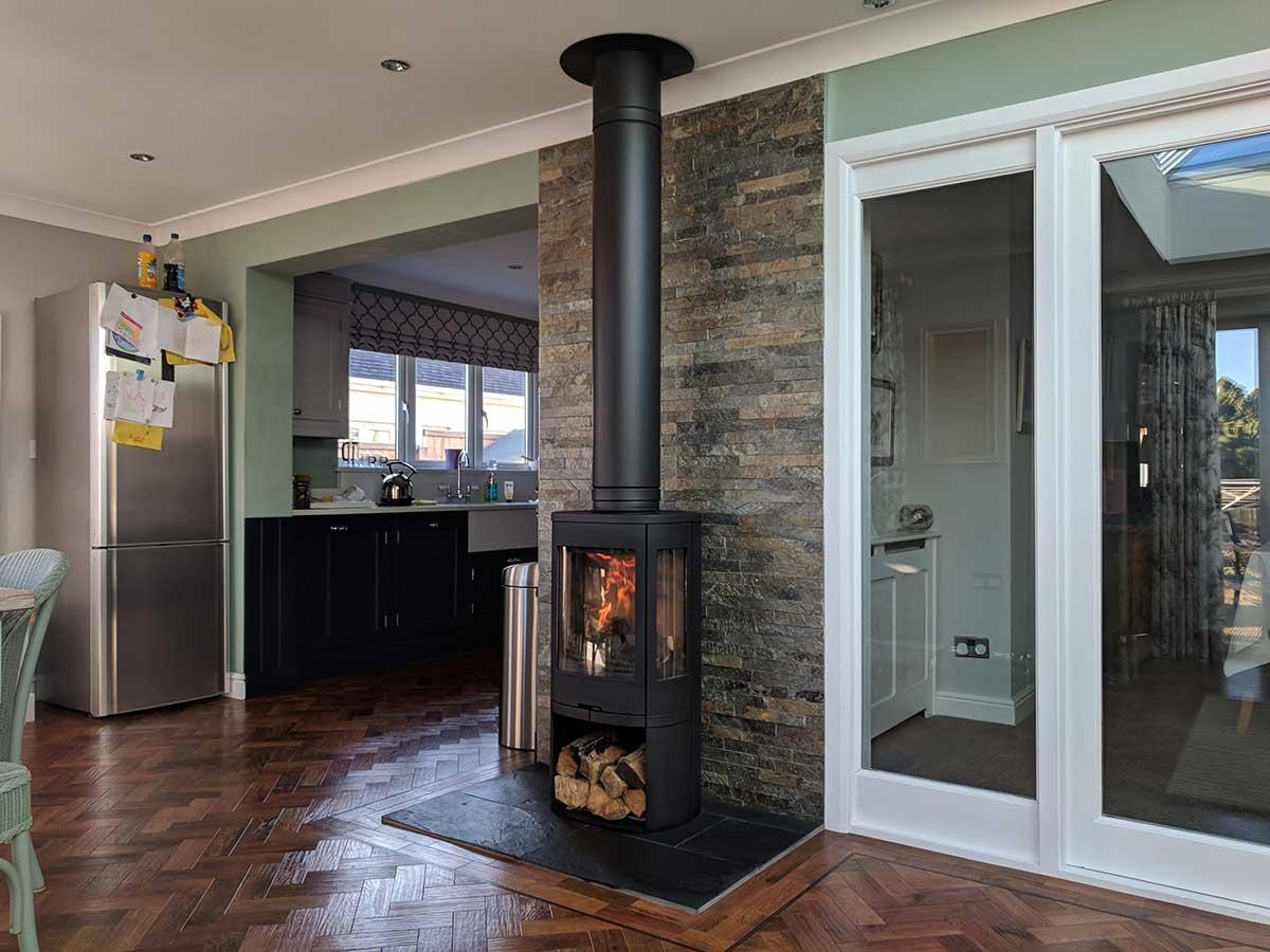 Contura 750 stove with slate tiles