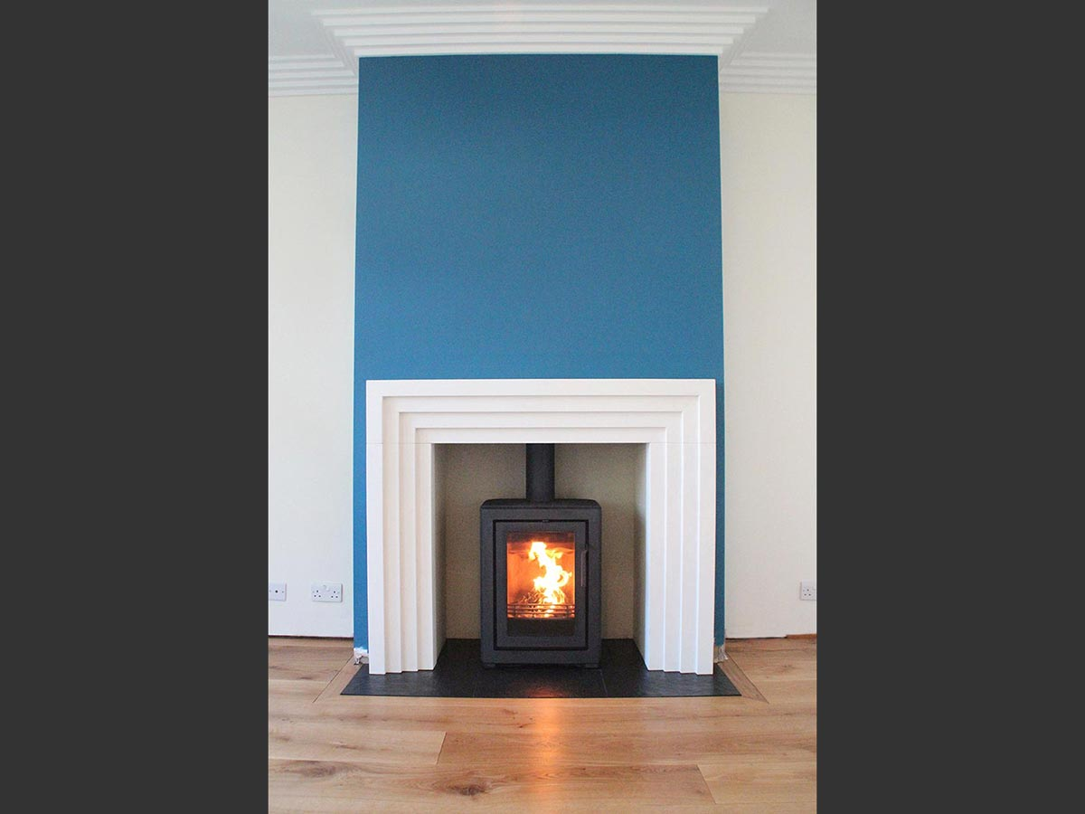 Limestone fireplace mantel with contura i4 modern FS