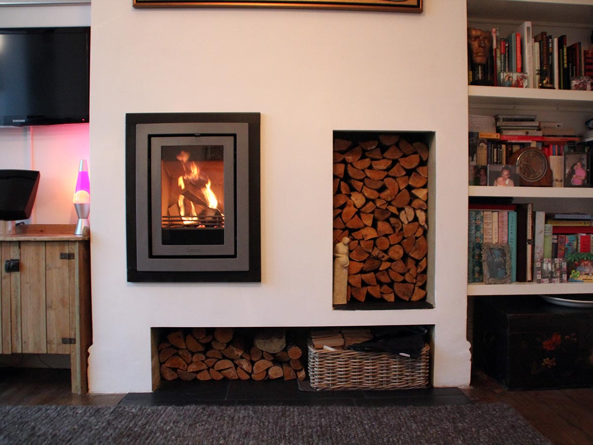 offset insert fireplace with contura i4 modern stove
