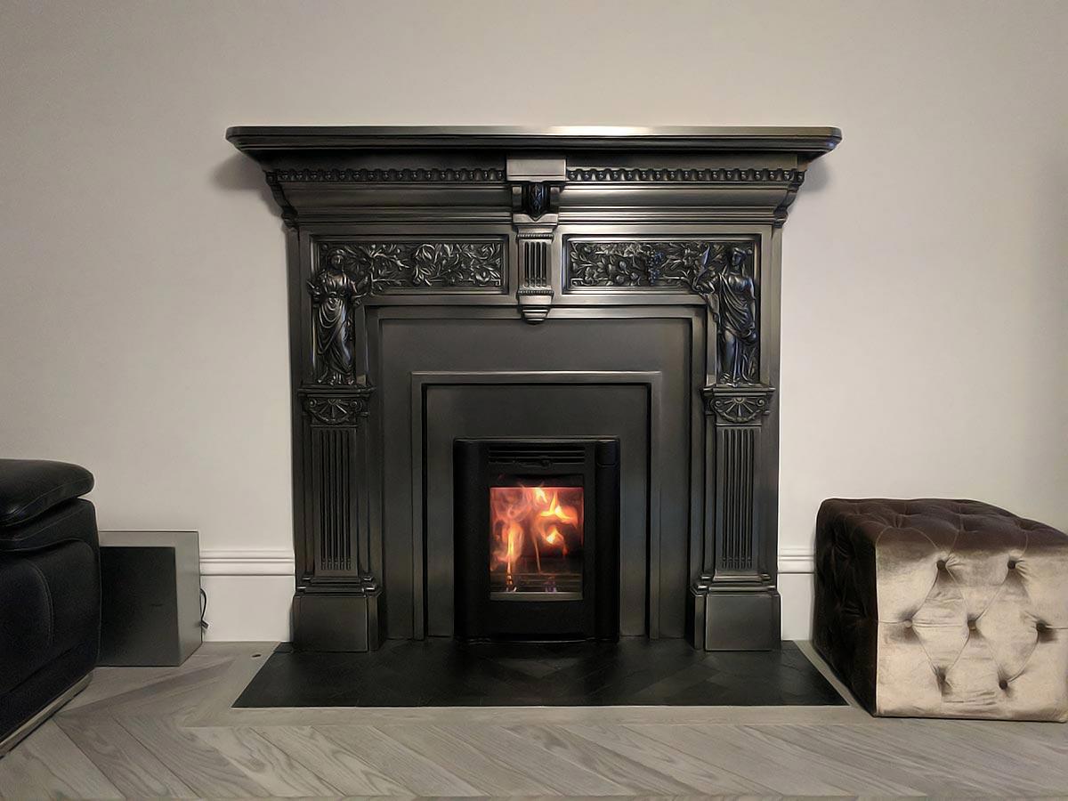 Victorian cast iron mantel fireplace