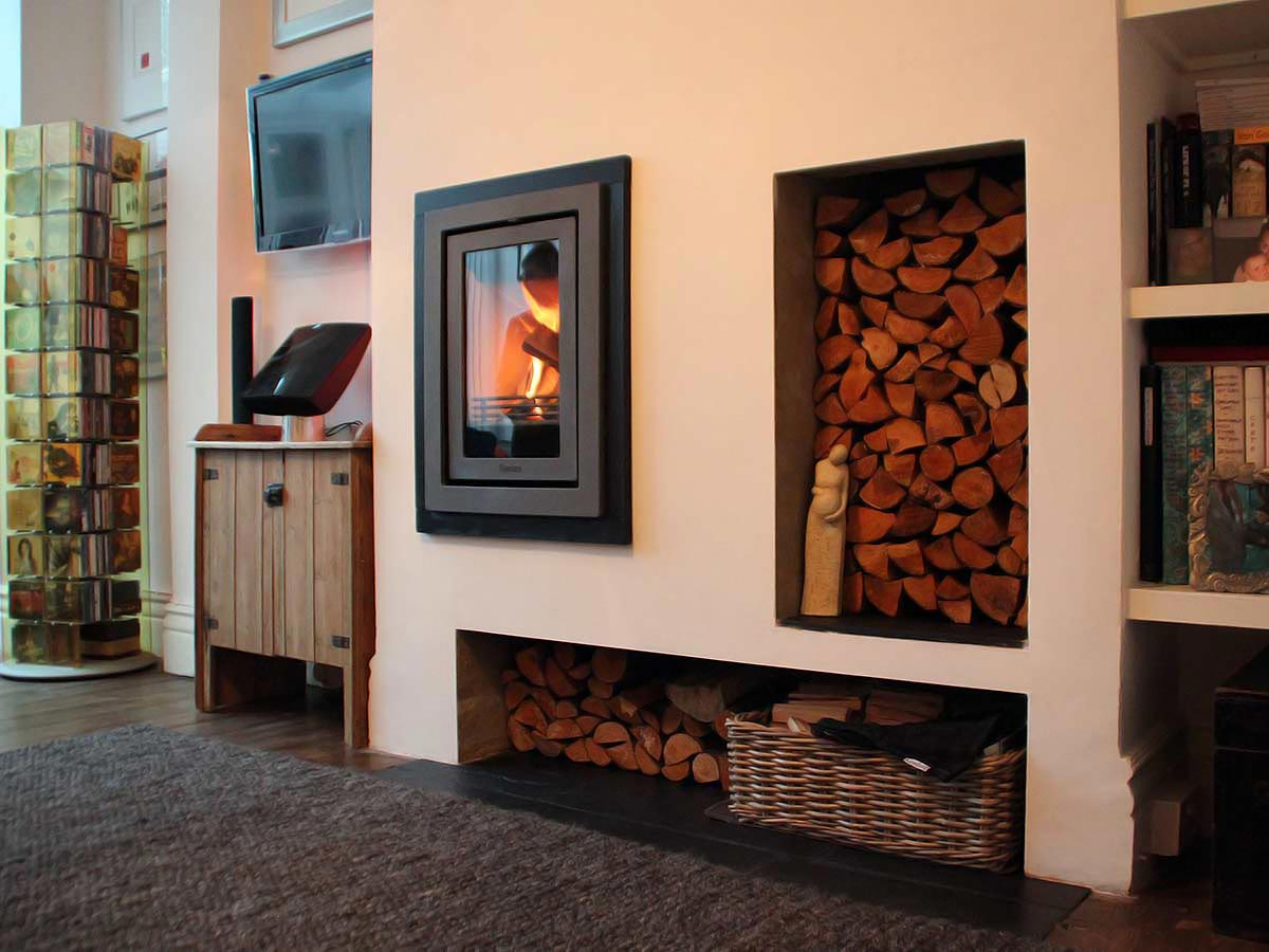 Contemporary fireplace with inset stove