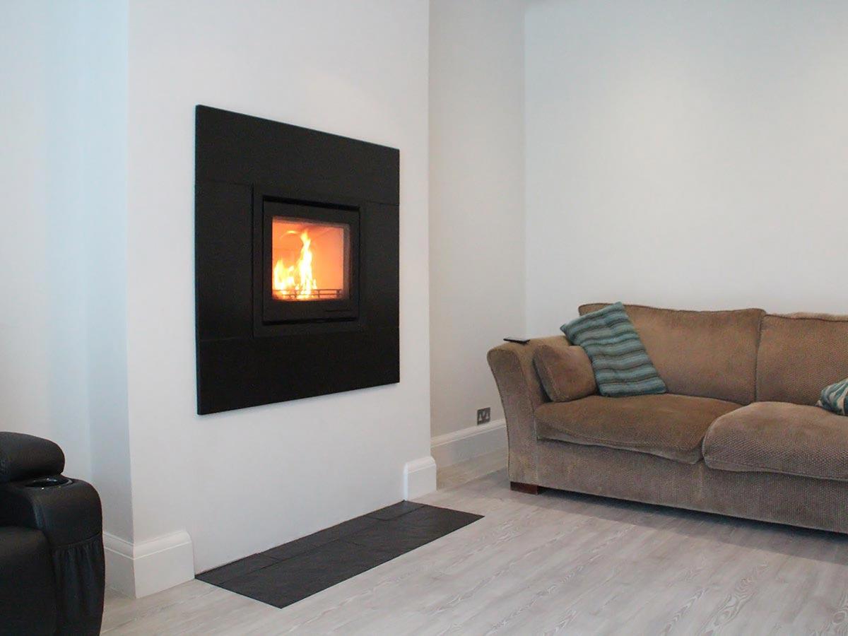 Contura i6 wood stove with slate trim