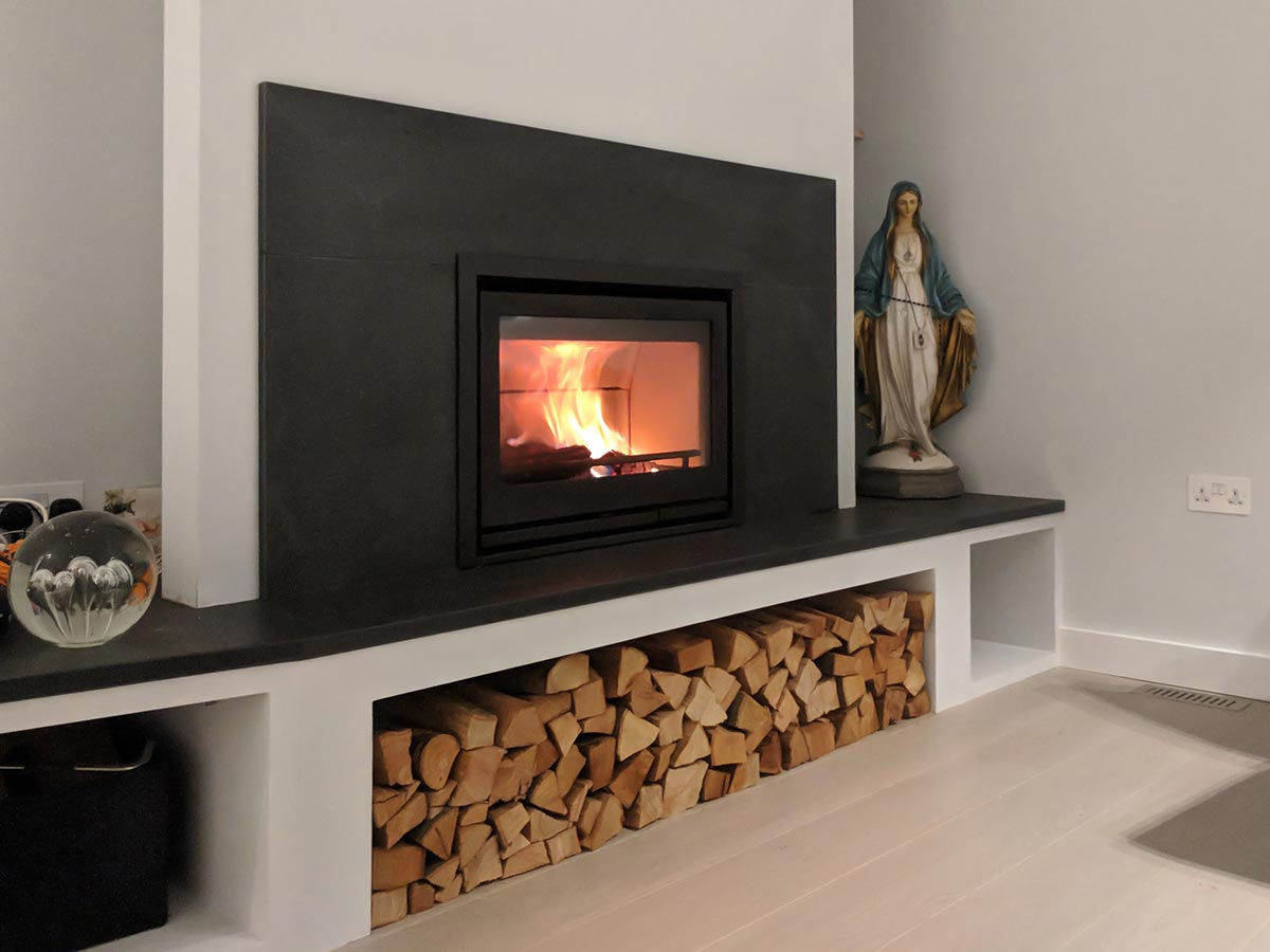 Insert Stove Fireplace with contura i7 and log storage