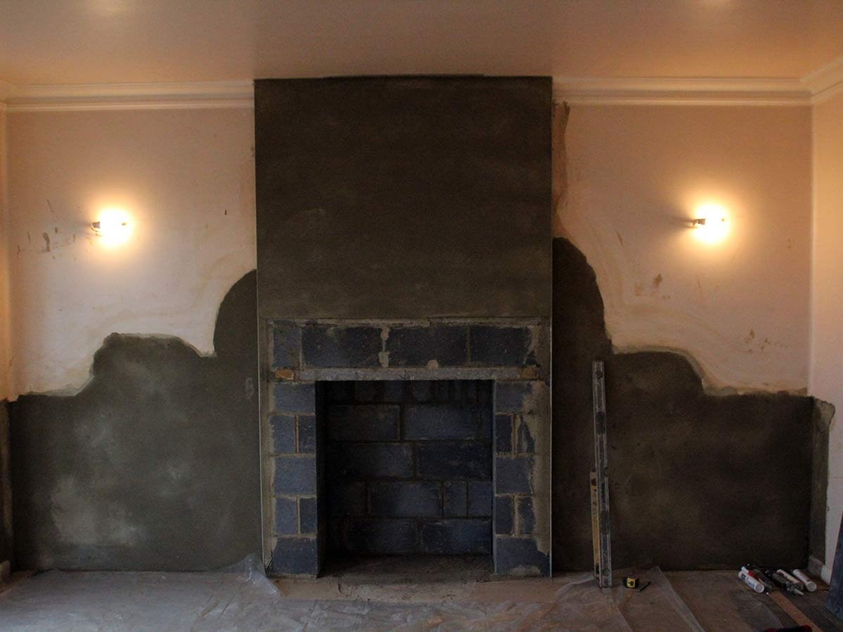 Built new fireplace chimney breast