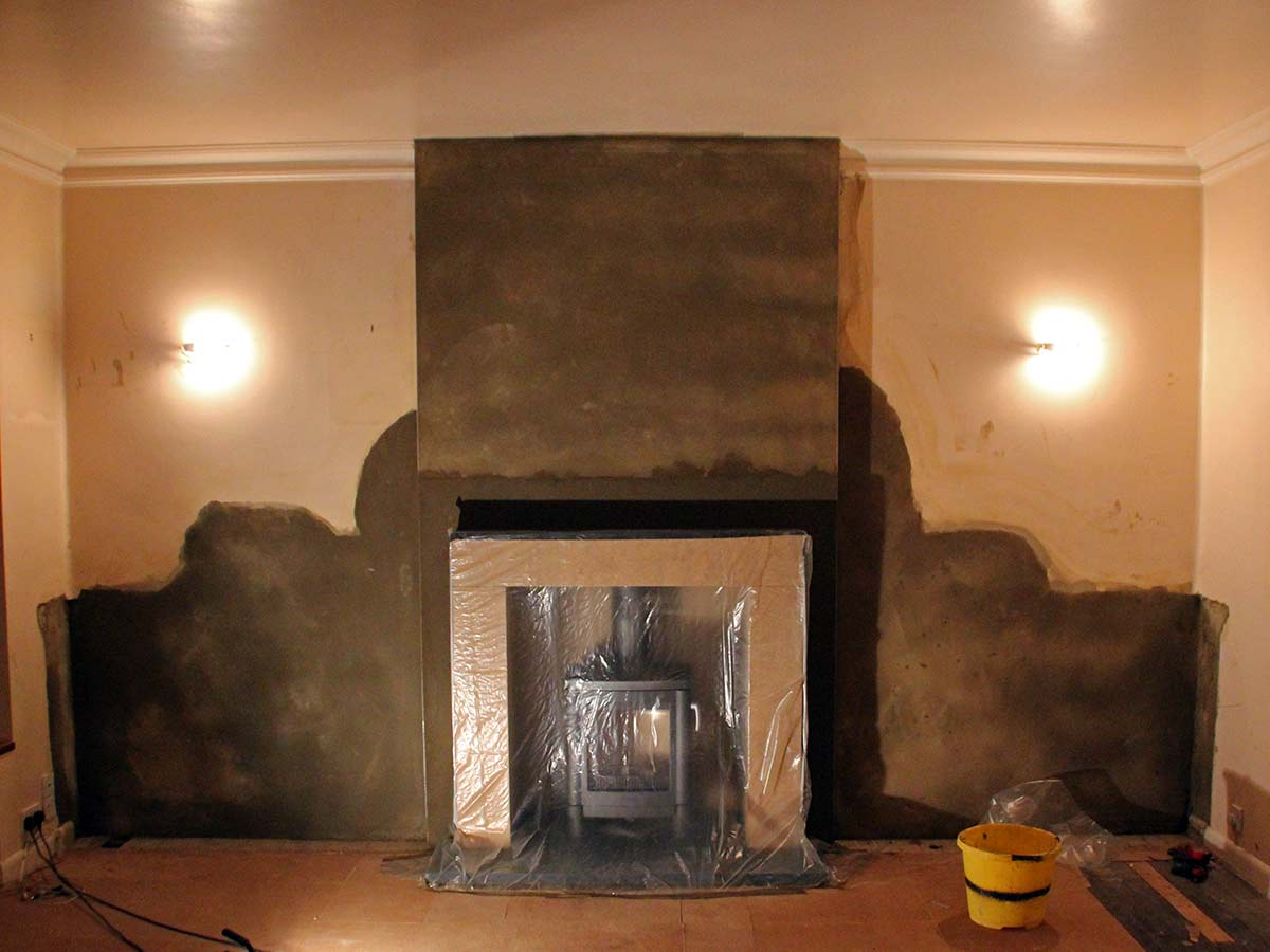 fireplace with stone mantel installation