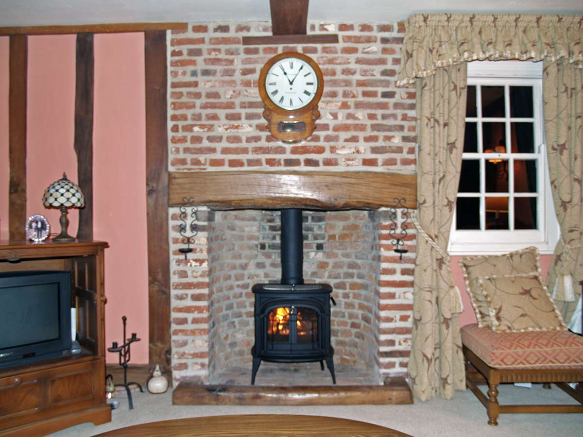 Essex inglenook fireplace with stove