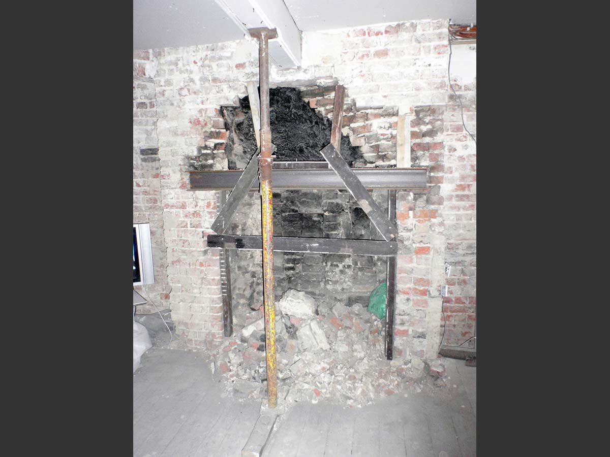during fireplace works