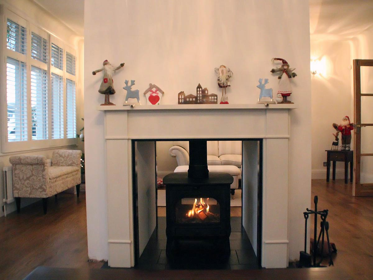 Double sided Fireplace with stove