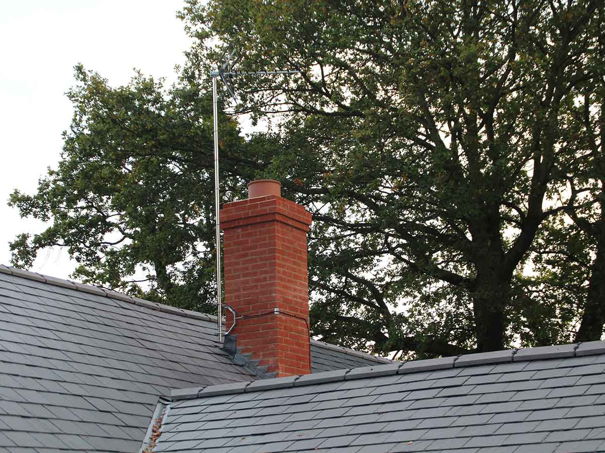 red brick chimney with pumice liners