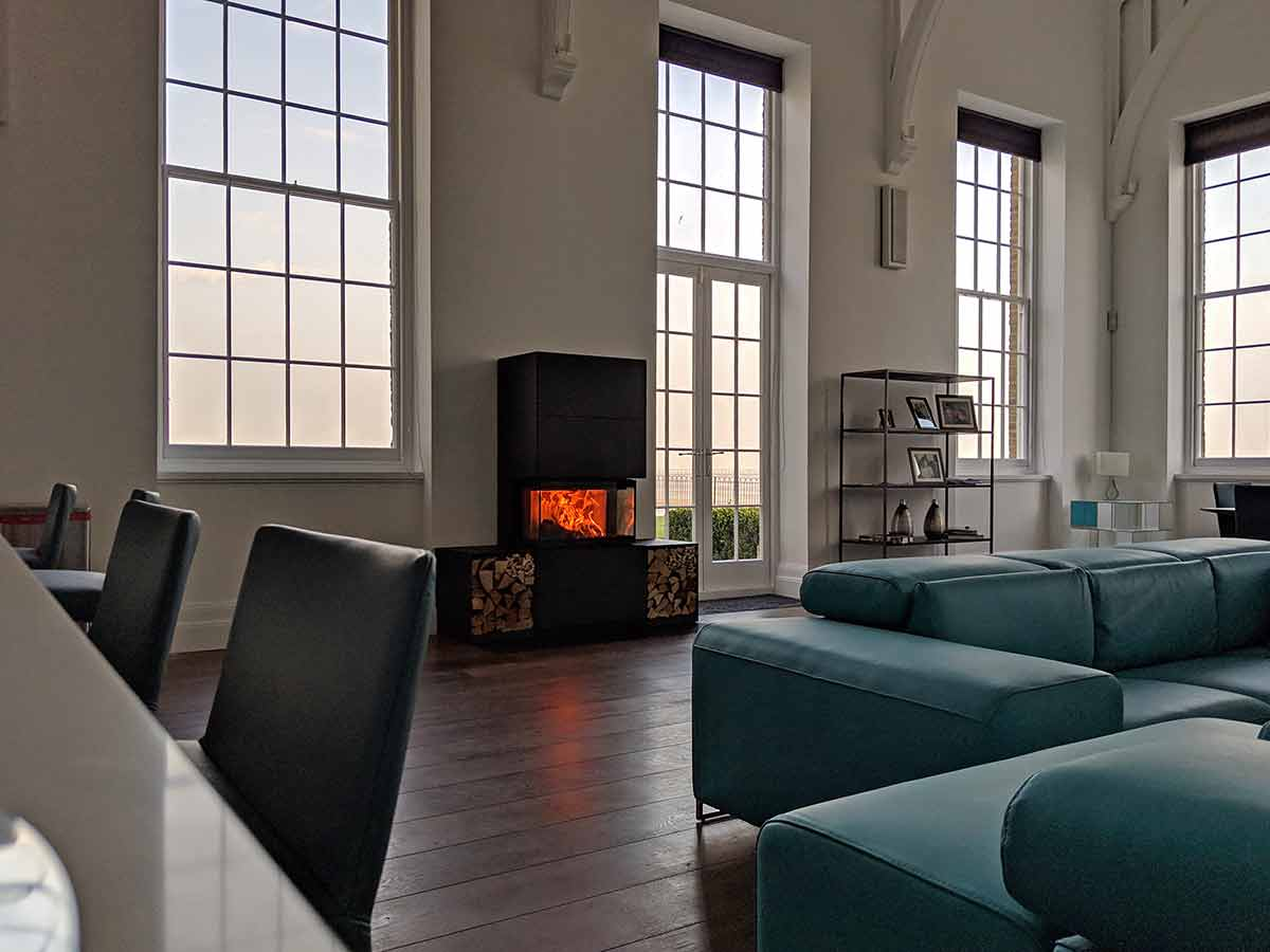 Wood stove in large room