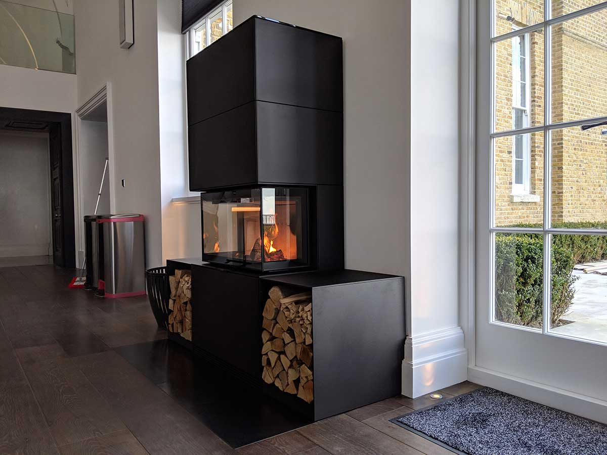 Side view of 3 sided wood stove