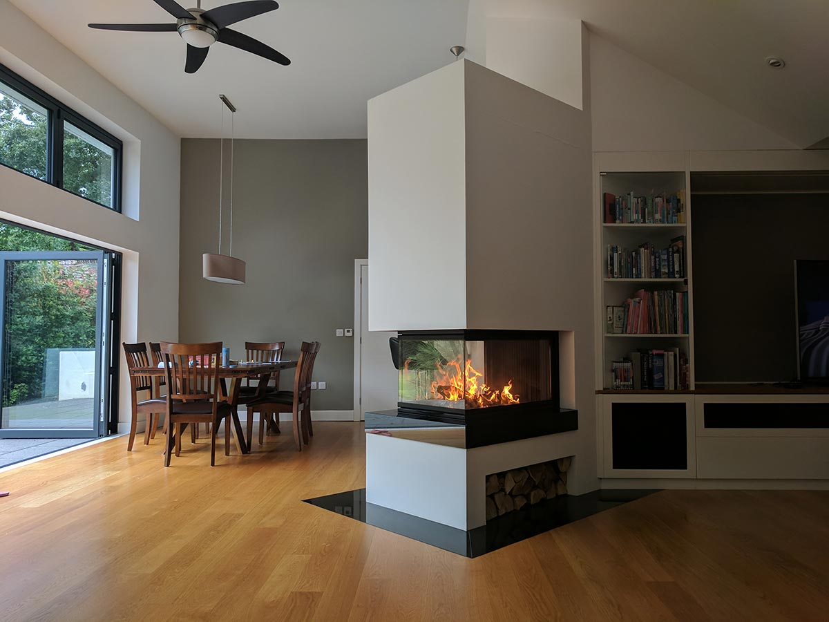 Bespoke fireplace with Piazetta wood fire