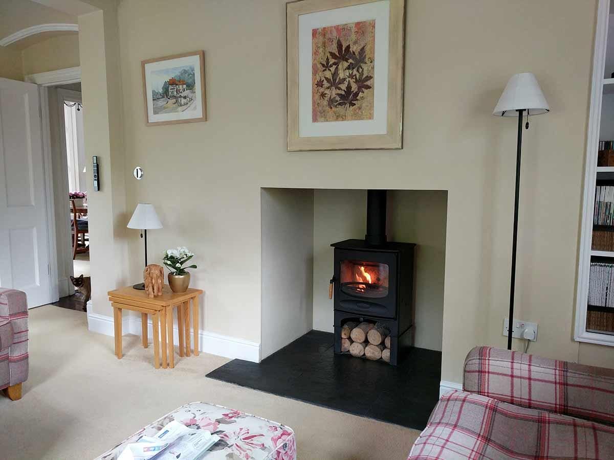 plain Fireplace with slate hearth