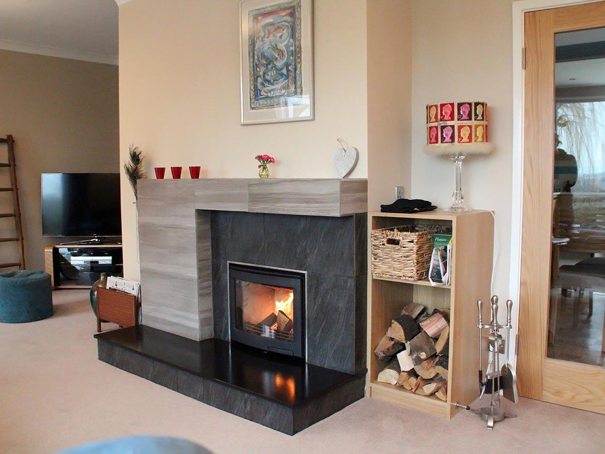 Porcelain tiled fireplace design