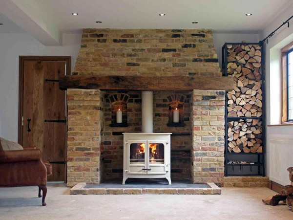 Yellow brick inglenook fireplace design