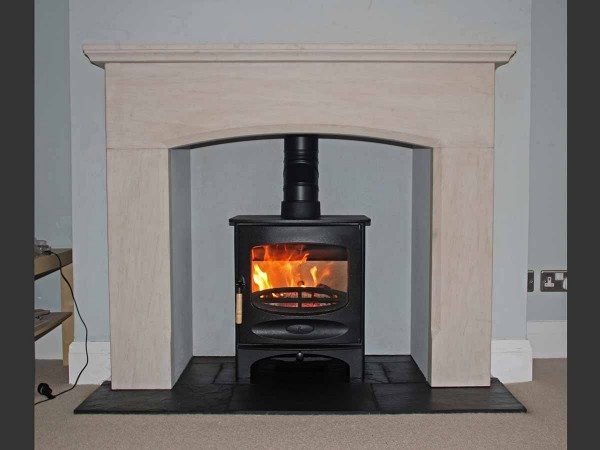 Limestone fireplace mantel with charnwood c Five