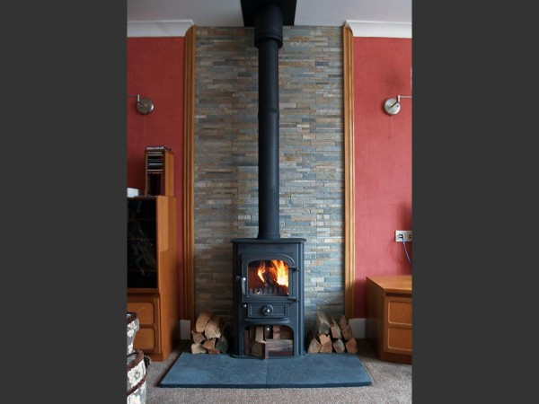 Solution 400 slate tiled fireplace