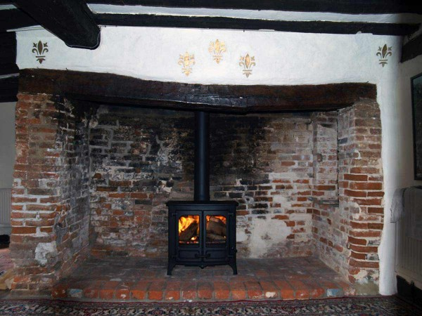 Red brick inglenook fireplace