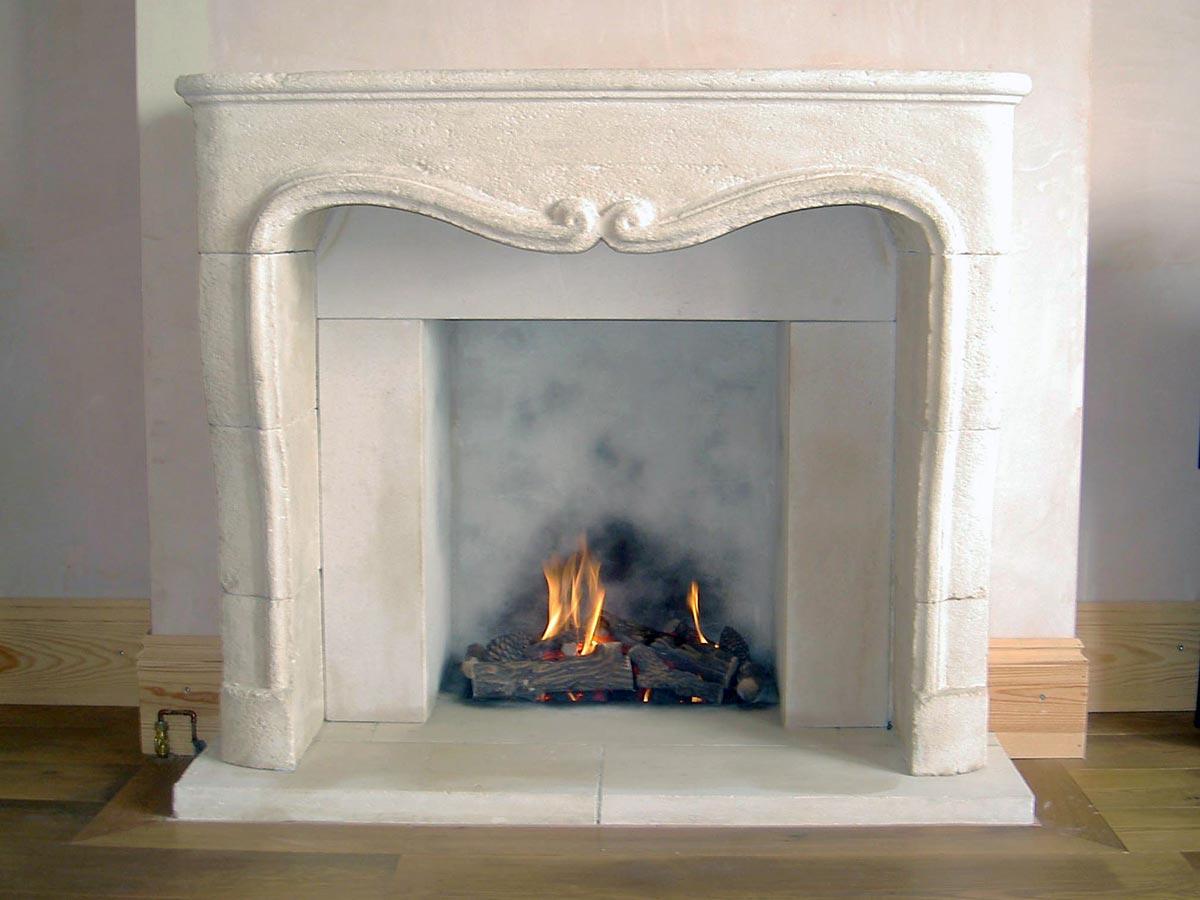 reclaimed stone open fireplace